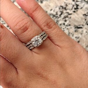 Jewelry - 3pc Sterling Silver CZ Wedding Engagement Ring Set